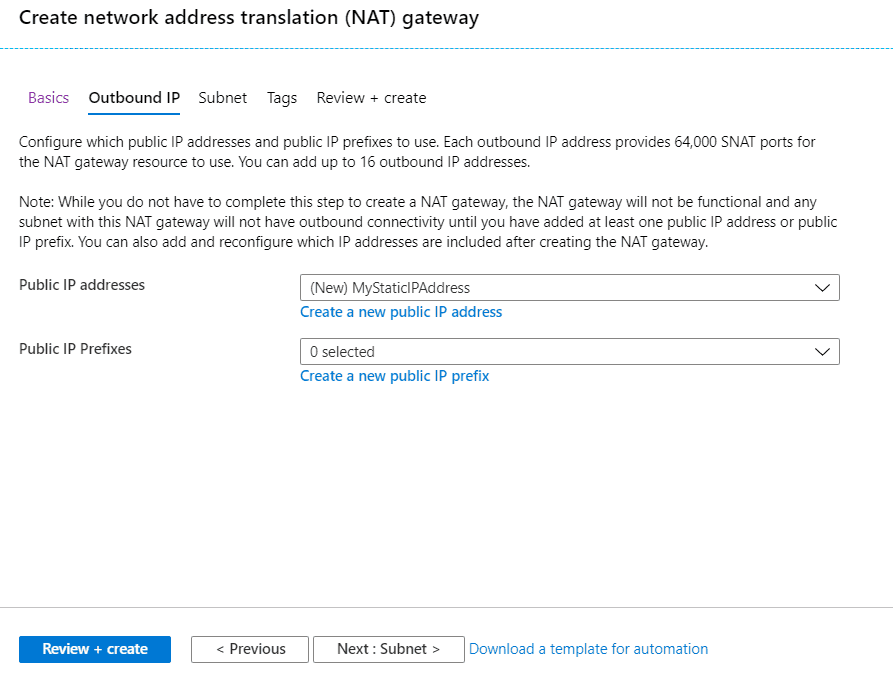 Azure Virtual Network NAT Gateway Configuration